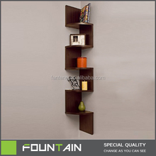 Walnut Wooden Display Zig Zag Modern Corner Bookcase Wall Shelf