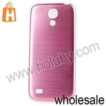 Brushed Metal PC Housing Cover Battery Case For Samsung Galaxy S4 Mini i9190 With White Edges(Pink)