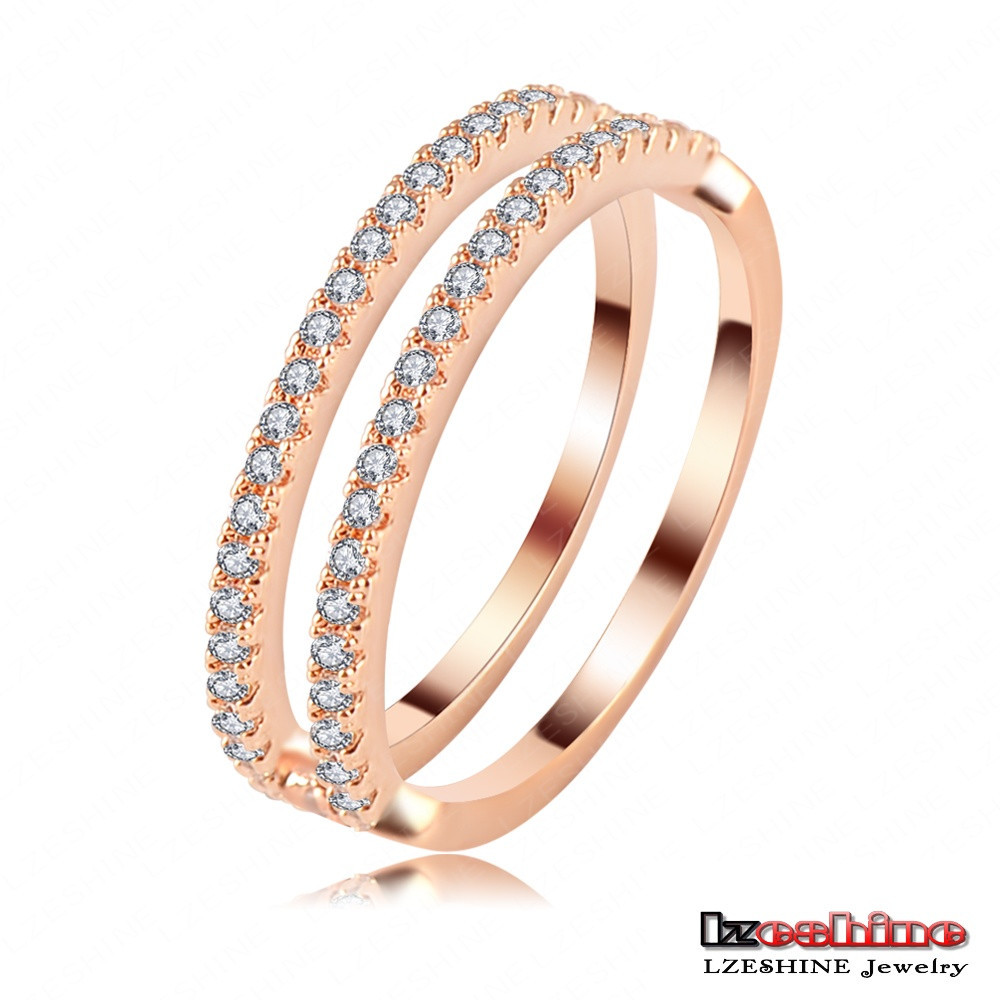 2pcs sets Thin Stackable Rose Gold Ring Fashion Women Austrian Crystal Ring Wholesale Bijoux CRI0119