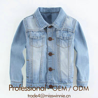 washable cotton denim jacket denim short jacket kids denim jacket