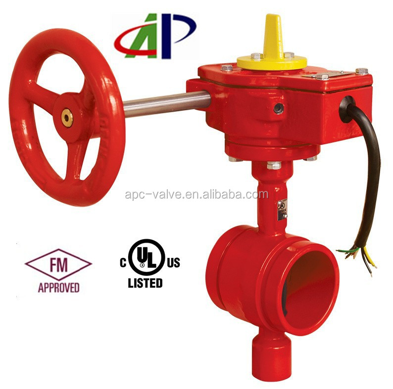 US STANDARD UL LISTED GROOVED END BUTTERFLY VALVE WITH TAMPER SWITCH