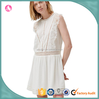 Casual keyhole poly/cotton dress for women, sexy fashion design dress with side lace