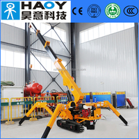 3 tons small spider crane with 5 telescopic boom diesel for sale