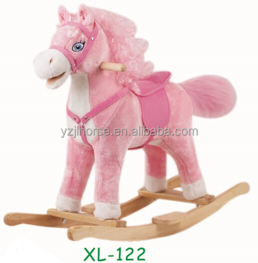 Lovely Pinky Plush Rocking Pony with Curved Hair Direct From Factory
