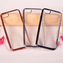 Factory price newest electroplating bumper transparent tpu cover for iphone 7 case
