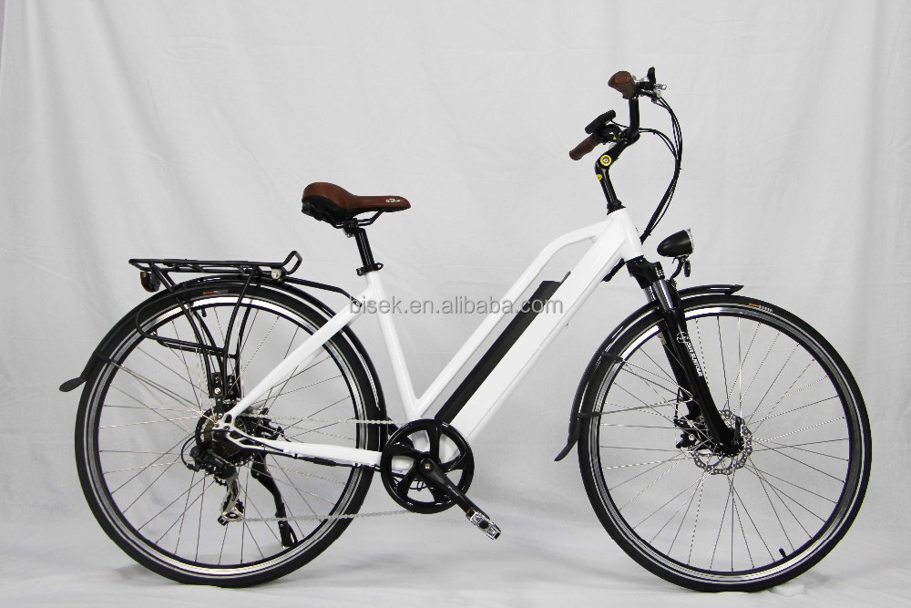 Chinese manufacture women pedelec electric city bike 700CC big tire with rear motor