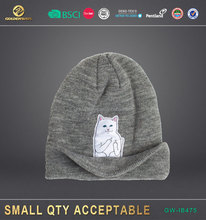 new Wool Knitted Custums character Cartoon Cat Patch Winter Hat