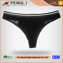 New products solid color black lace ladies' sexy fancy panty thong