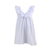 Hot sale summer new baby girl casual dress children frocks designs white solid colro ruffle frocks