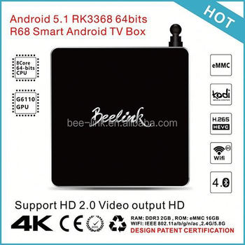 Hot Selling Original amlogic 2015 hot 4k ultra output android tv box r68 Wifi H.265 RAM 1/2G ROM 8G TV BOX