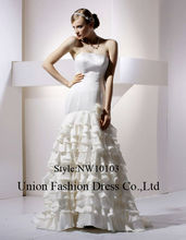 Mermaid style long satin petticoat gathered skirt wedding gowns 2015