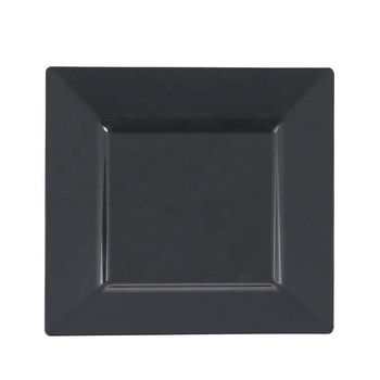 "OEM High End Restaurant Dinner Plates Black Melamine Square 10"" Salad Dessert Plates Disposable and Reusable dishes"