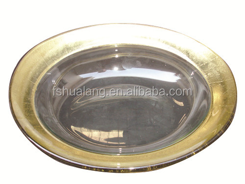 Decorative Gold Band Tempered Glass Fresh Fruit Plate With Bracket For Hotel Decoration F-C09G