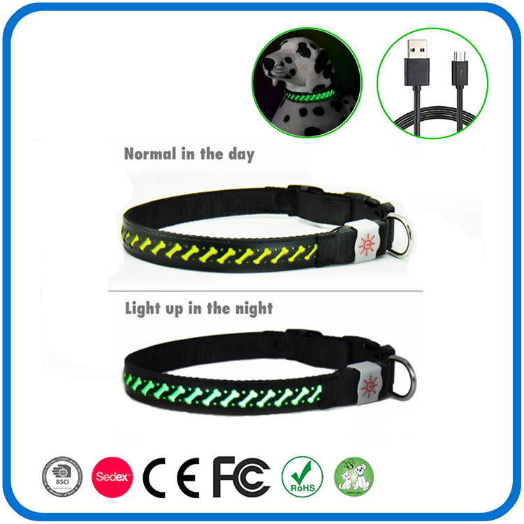 LED Dog Necklace Collar - USB Rechargeable Loop - Available in 6 Colours