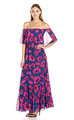 women dress summer women's Off Shoulder Floral Chiffon Maxi skirt
