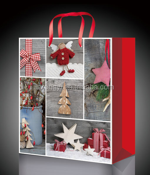 Promotional Customized Christmas Gift Paper Bag with Ribbon Handle