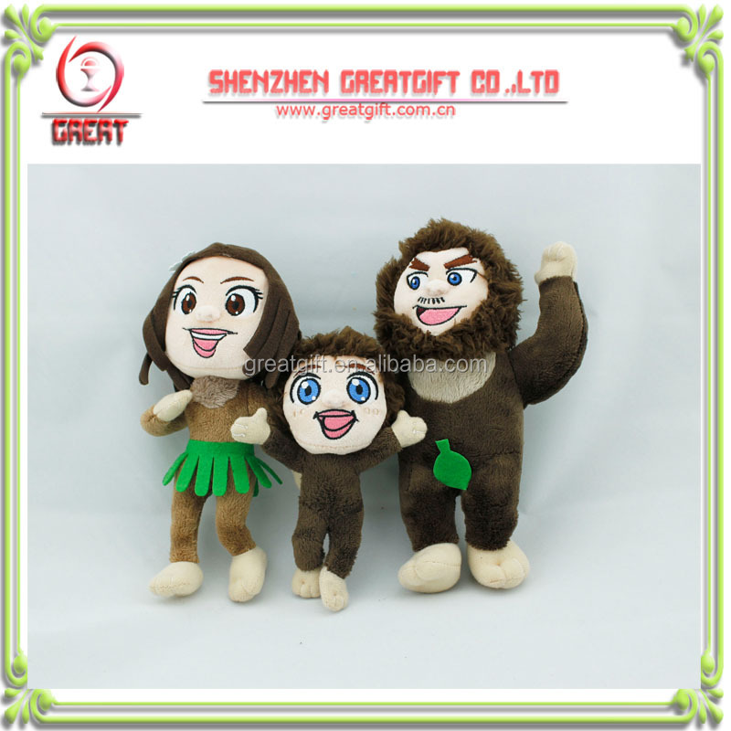 The Croods soft plush dolls toys,custom human plush dolls , plush toy set of 3