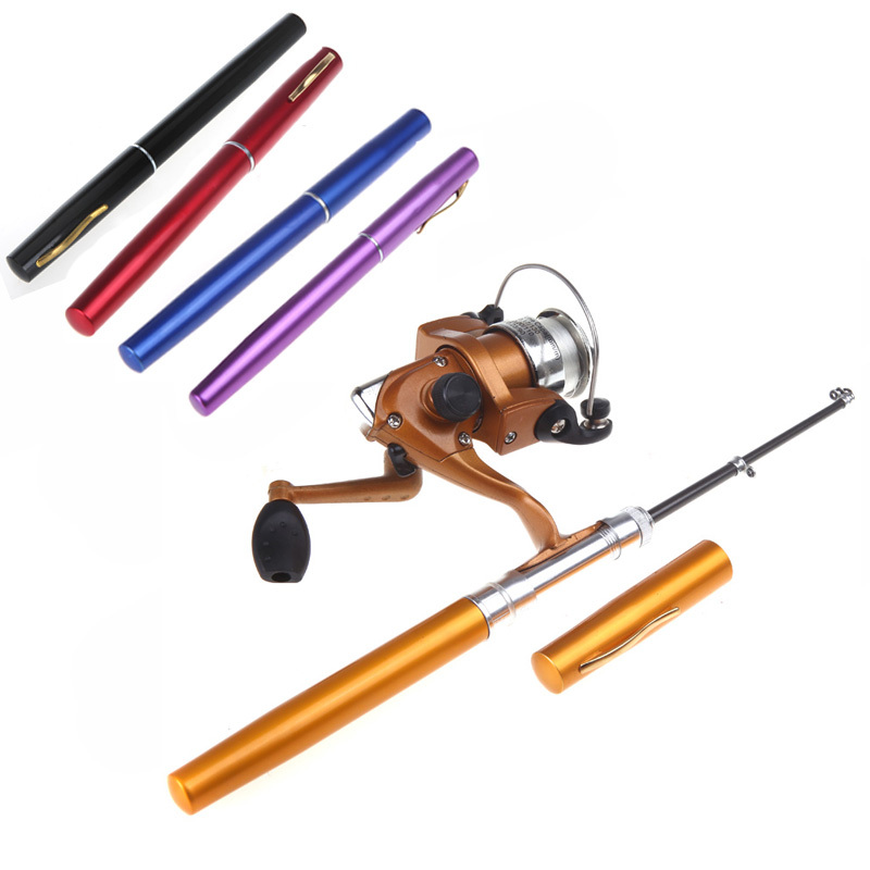 Mini aluminum baitcasting pocket pen fishing rod pole for Mini pen fishing rod