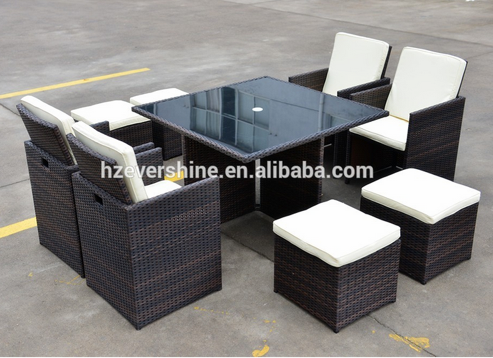 Foldable Waterproof PE Rattan Garden Furniture Cube Dining Sets of 9