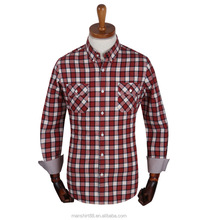 Latest red checked two chest pockets button downs shirt for men