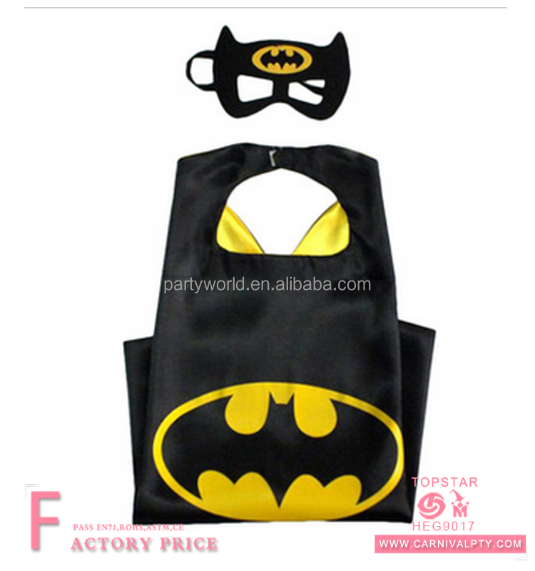 2017 best price fancy kids superhero Yellow bat cape and mask children super hero capes