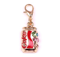 Metal enamel bottle keychain lobster clasps keyring with colorful crystal coke keychain for bag accessories