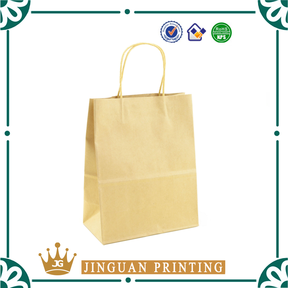 Shopping flat packaging custom logo print eco friendly paper kraft gift bag