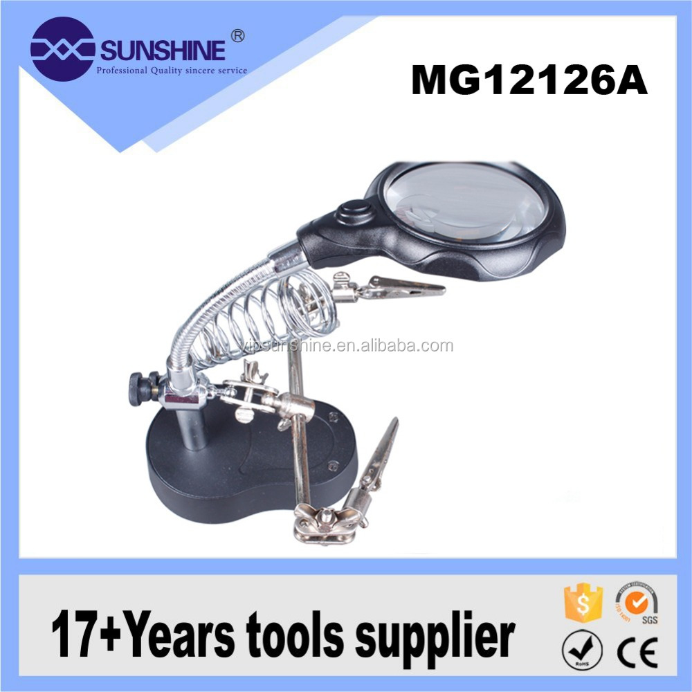 MG12126-A mobile phone auxiliary bracket clip LED lamp magnifier with electric soldering stand