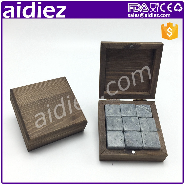 AIDIEZ Custom Ice Whiskey Wine Stones Dice Cubes In Brown Box