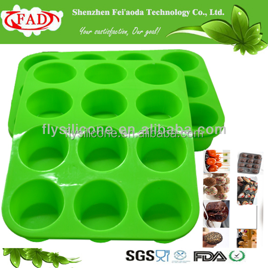 DIY Meaningful Muti-fuction Silicone 12 Cup Muffin Pan/Muffin Cupcakes