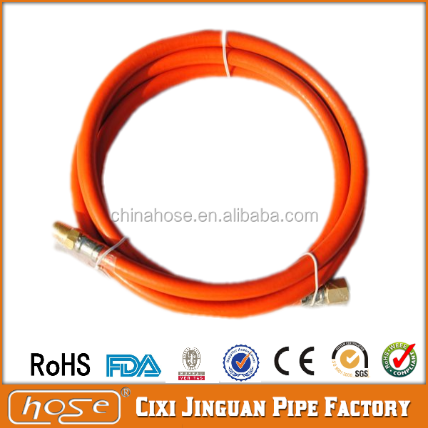 Cixi Jinguan ISO3821 Standard Flexible LPG Gas Hose Pipe with Copper Connectors,High Pressure Orange PVC Gas Hose Pipe