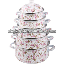 5pcs porcelain enamel cookware pot with full decal