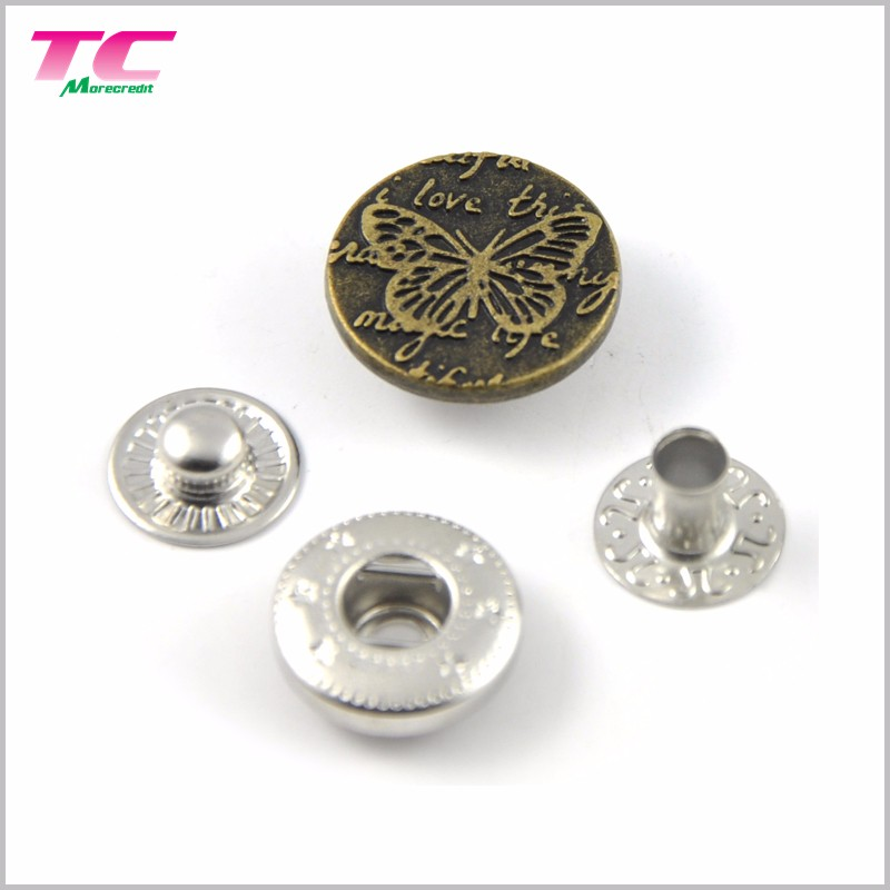 Custom Embossed Logo Clothing Metal Spring Snap Fastener Snap Stud For Garment