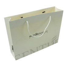 White Fancy Paper Packaging Jewelry Custom Gold Foil Logo Gift Paper Bag With Fabric Handle
