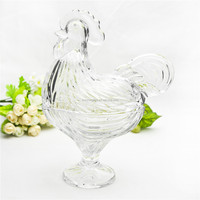 Hand craft pressed animal-shaped glass jar decorative rooster glass storage jar best selling
