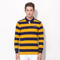Men's Long Sleeve T-shirt Yarn Dyed Striped Rugby Polo Shirt