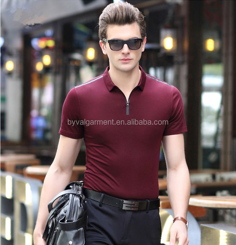 Wholesale Spring Pure Color Lapel Male Blank T-shirts Men Cotton T-shirts