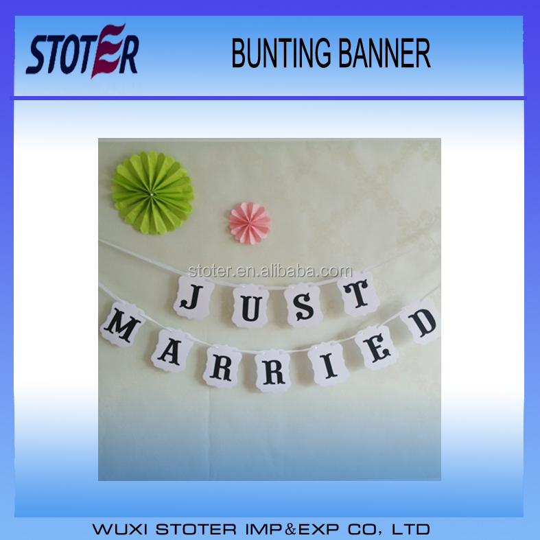Factory Price Custom Unique Just Married Paper Wedding Bunting Flag Banner