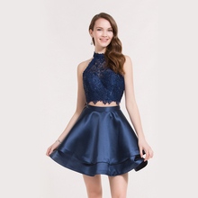 Couture Women Clothing Royal Blue Ribbon Beads Polyester Fishing Net Double Lotus Leaf Satin Hem Fabric Two Pieces Cocktail Dre