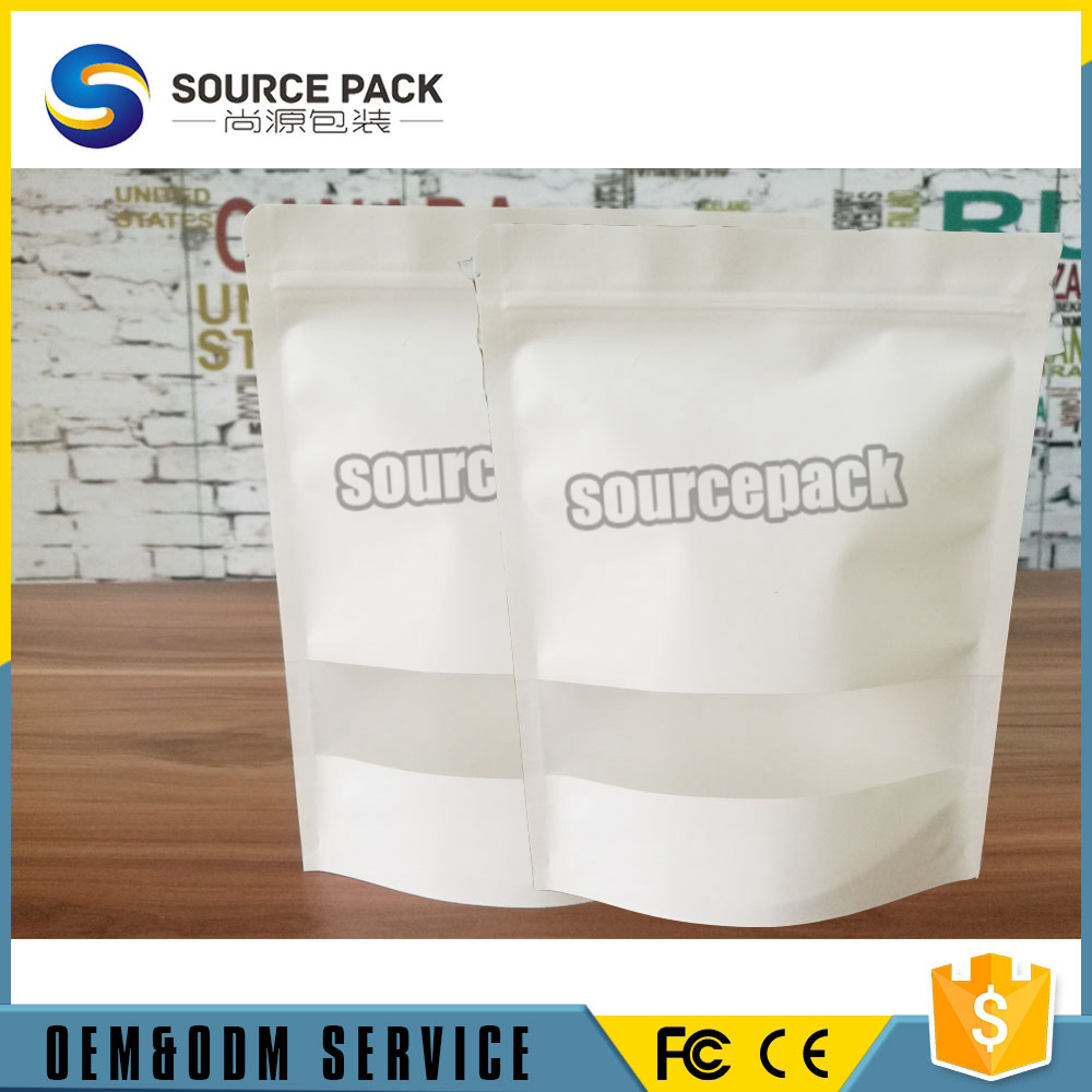 food packing white Kraft Paper Bag With Window And Zipper for Beverage and nuts