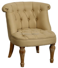Buff Beige hot sale baby furniture button living room wooden small chair