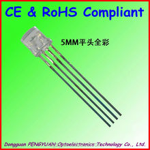 Top Factory 5mm flat top rgb led dip 4 pin common anode/cathode diodes ( CE & RoHS )
