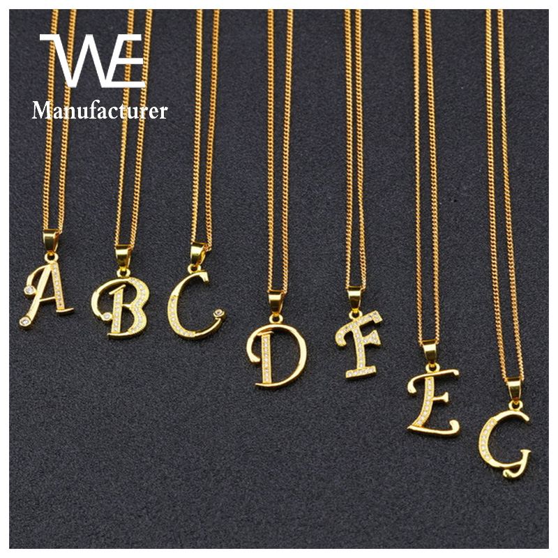 Manufacturers Wholesale 18K Gold Plating Simple Letter With Zircon Women Classics Chokers Necklace
