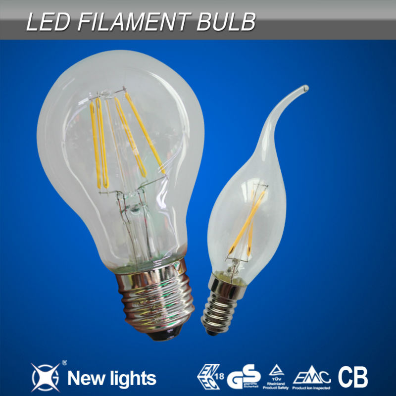 6W Hot new product for 2014 E14 B22 360 degree dimmable led filament bulb