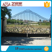 used hot double swing automatic safety european modernsquare pipe gate designs/entrance aluminum gate/ main iron gate for garden