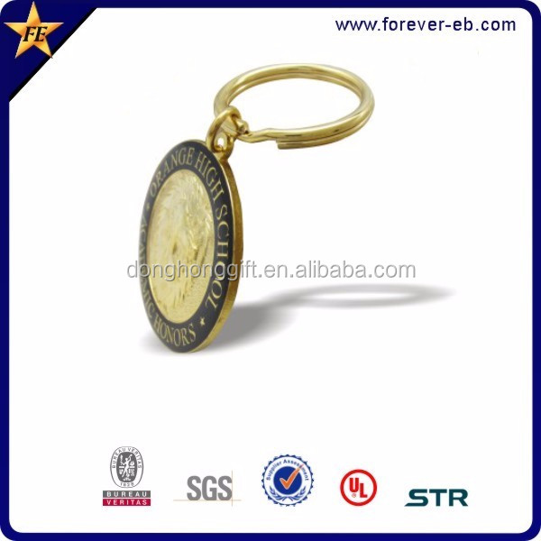 Wholesales promotion Colorful round metal 3D key holder keychain