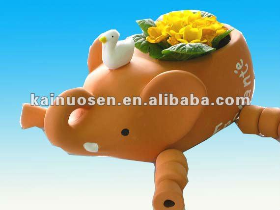 terracotta cute animal piggy indoor planter w/duck