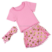 Toddler summer gold clothes Girls boutique outfits Baby clothes set clothing