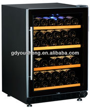 CE CB Rohs ETL hot selling hotel supply USF-54D dual zone wine cooler Wangzhongwang door wine fridge with compressor