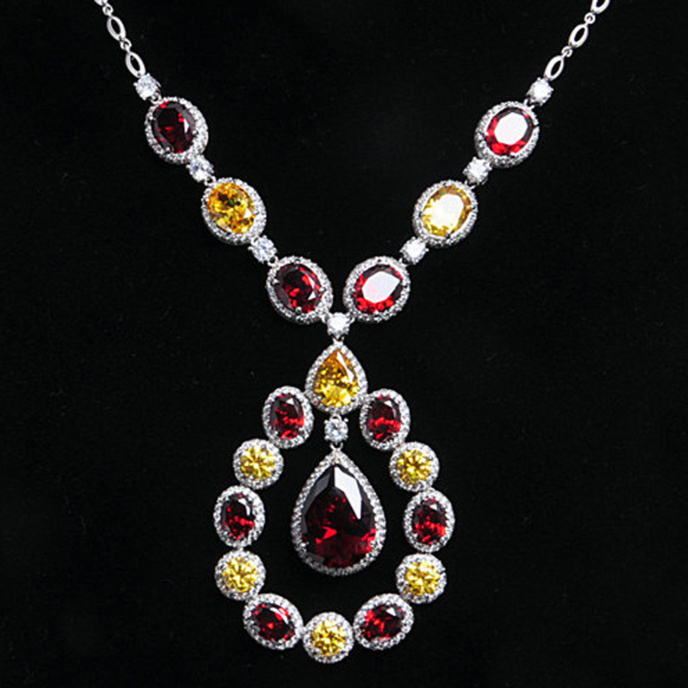 Luxury solid silver material garnet stone necklace for party